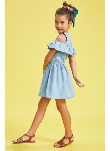 DeFacto Kız Çocuk Fırfır Detaylı Askılı Jean Elbise Mavi